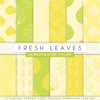 Yellow and Green leaves Digital Paper, scrapbook backgrounds
