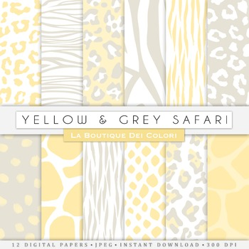 Yellow and Grey Animal Prints Digital Paper, scrapbook backgrounds.