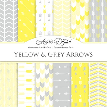 Yellow and Grey Arrows Digital Paper patterns gray tribal scrapbook background