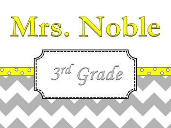 Chevron Teacher's Name Sign Yellow and Grey