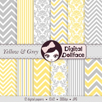 Yellow and Grey Digital Paper, Damask, Chevron, & Stripe Patterns