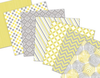 Yellow and Grey Digital Paper Yellow Grey Dots Strips Chevron Background