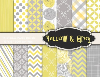 Yellow and Grey Digital Paper Yellow Grey Dots Strips Chev