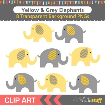 Yellow and Grey Elephant Clipart, Gray and Yellow Elephant