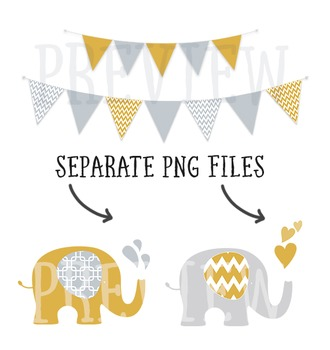 Yellow and Grey Elephant and Bunting Clip Art Combo with Digital Papers