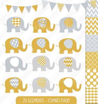 Yellow and Grey Elephant and Bunting Clip Art Combo with D