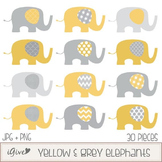Yellow and Grey Elephants Clip Art