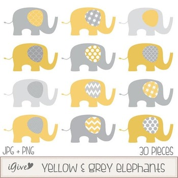 Yellow and Grey Elephants Clip Art