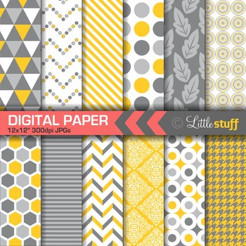 Yellow and Grey Geometric Digital Papers, Yellow and Gray Patterns