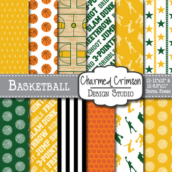 Yellow and Hunter Green Basketball Digital Paper