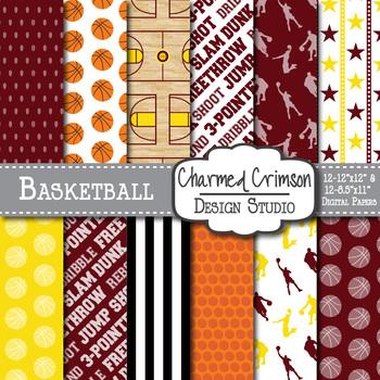 Yellow and Maroon Basketball Digital Paper 1308