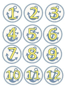 Yellow and Navy Anchor Calendar Numbers