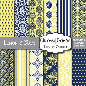 Yellow and Navy Blue Damask Digital Paper 1394