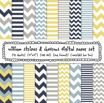 Yellow, Navy Blue and Gray Stripes and Chevrons Digital Paper Set