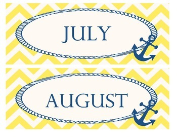 Yellow and Navy Calendar Months