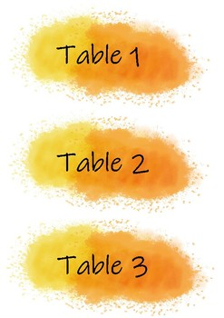 Yellow and Orange Table Numbers