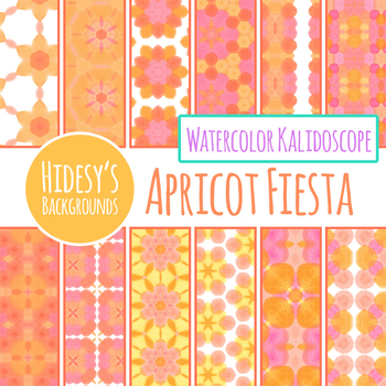 Yellow and Orange and Pink Kalidoscope Watercolor Backgrounds / Digital Papers