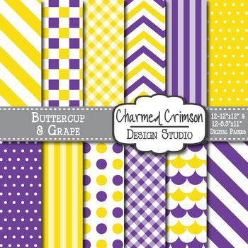Yellow and Purple Digital Paper 1224