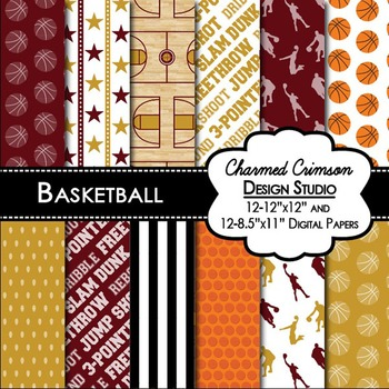 Yellow and Red Basketball Digital Paper