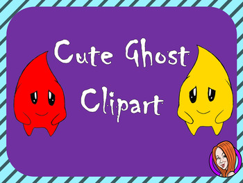 Yellow and Red Colored Ghost Characters Clipart