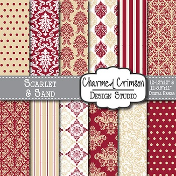 Yellow and Red Damask Digital Paper 1302