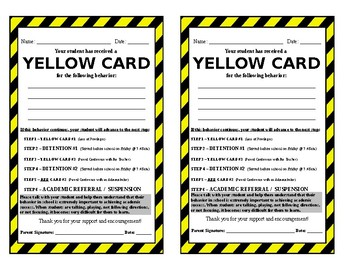 Yellow and Red Warning Cards