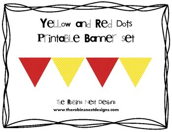 Yellow and Red with Little Dots Banner Set