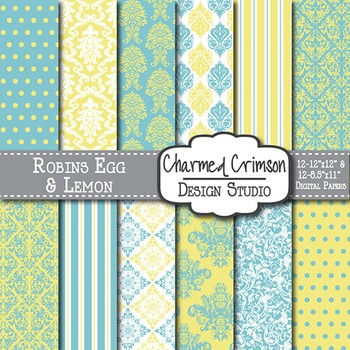 Yellow and Teal Damask Digital Paper 1244