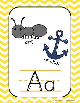 Yellow and Turquoise Chevron Alphabet, Right and Left, and Digraph Posters