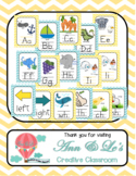 Yellow and Turquoise Chevron Alphabet, Right and Left, and
