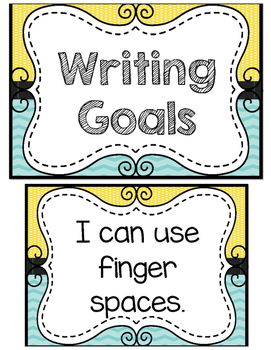 Yellow and Turquoise Writing Goals Clip Chart