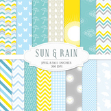 Yellow and blue digital papers - rain April showers weather chevron polka dots