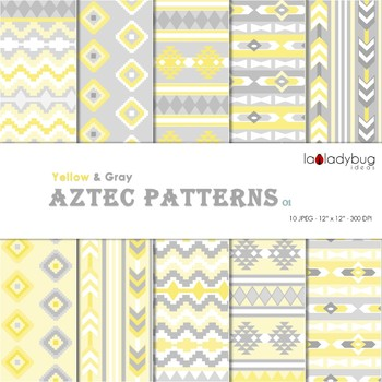 Yellow and gray Aztec patterns Wallpapers. Tribal digital papers.