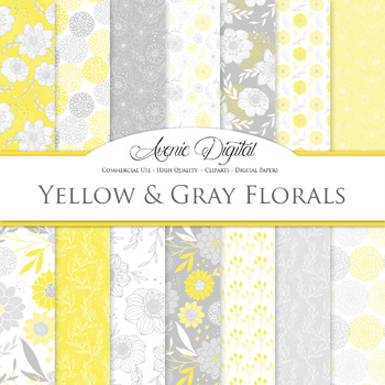 Yellow and grey Floral Digital Paper patterns nursery dahlia flower background