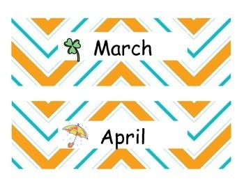 Yellow chevron Calendar Headings