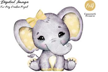 Yellow girl elephant clip art, watercolor very cute little ...