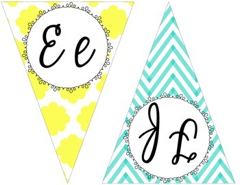 Yellow, gray, and teal chevron and Quatrefoil cursive pennant banner