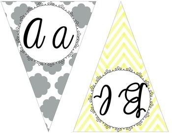 Yellow, gray, and teal chevron and Quatrefoil cursive penn