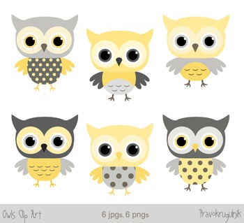 Yellow owls clip art, Grey owl clipart, Baby owls graphics