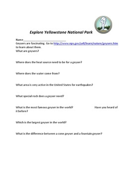 Yellowstone national park webquest by cc fisher tpt yellowstone national park webquest publicscrutiny Image collections