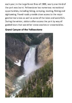 Yellowstone National Park Handout
