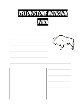 Yellowstone National Park Notebooking Page