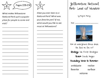 Yellowstone National Park Trifold - 3rd Grade Literacy by Design Theme 7