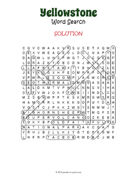 Yellowstone National Park Word Search Puzzle
