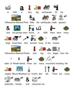 Yellowstone National Park - picture supported text lesson questions PDF