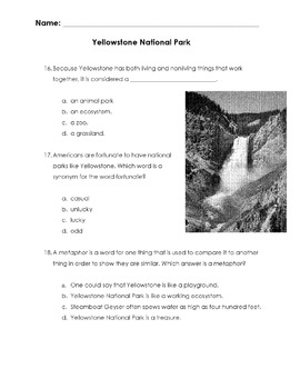 National Park YELLOWSTONE Info -18 Multiple Choice Reading Comprehension & Vocab