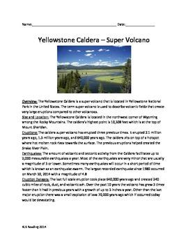 Yellowstone Park Caldera Super Volcano - Review Article Questions Vocab