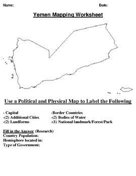 Yemen Mapping Worksheet w/ Middle East Word Search