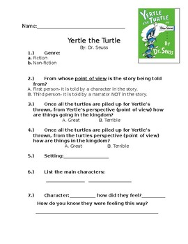 Yertle the Turtle Comprehension Questions