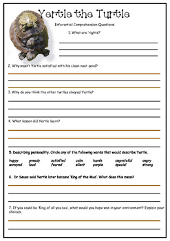 Yertle the Turtle - Dr Seuss - Inferential Comprehension Activity